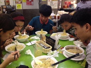 Having good servings of noodles before heading to Macau