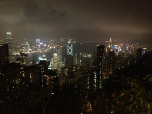 View of evening Hong Kong skyline